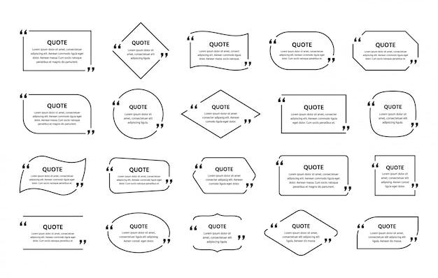 Zone de texte de devis. cadre de citation de modèle dans une conception simple.