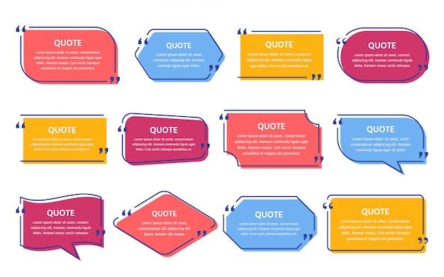 Zone de texte de devis. citations de cadre de modèle.