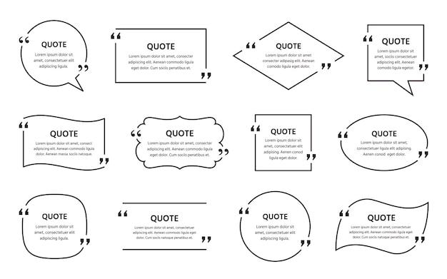 Zone de texte de devis. vecteur. cadre de citations. ensemble de commentaires d'informations et de messages dans des zones de texte