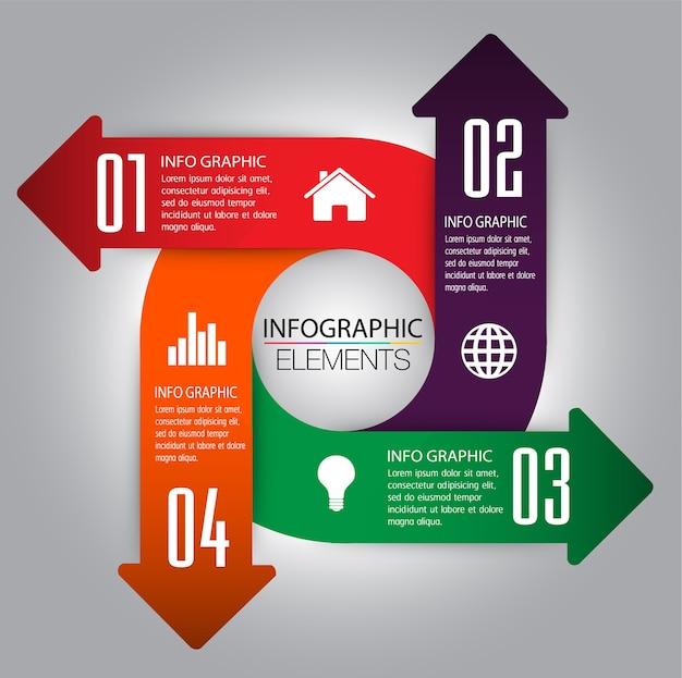 Zone de texte de flèche cercle, bannière infographique