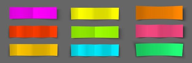 Zone de texte. jeu de bannières colorées en papier. effet d'ombre.