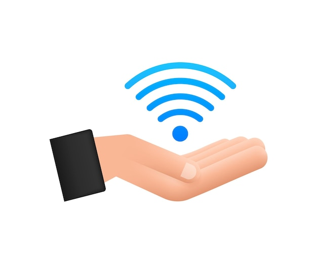 Zone wifi gratuite signe bleu dans l'icône des mains. le wifi gratuit ici signe le concept. illustration vectorielle.