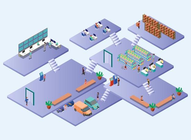 Zones du grand magasin de l'intérieur