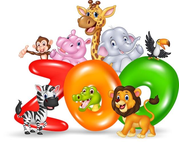 Zoo de mot avec dessin animé afrique des animaux sauvages