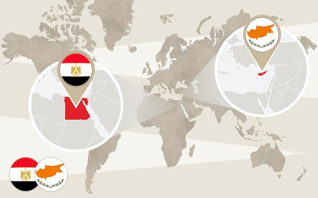 Zoom de carte du monde sur l'egypte, chypre. détourner. carte de l'egypte avec indicateur. carte de chypre avec indicateur. illustration vectorielle.