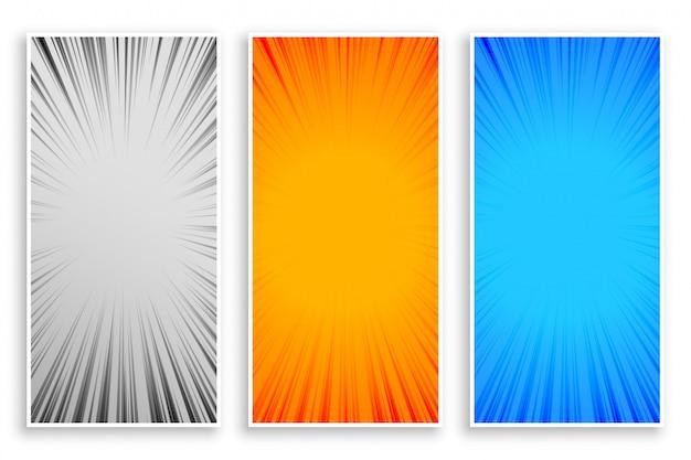 Zoom ligne rayons abstrait bannières ensemble de trois