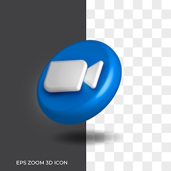 Zoom sur le style de logo 3d d'appel vidéo dans l'actif d'icône arrondie isolé 01