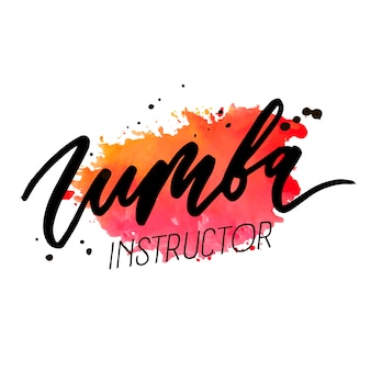 Zumba vector lettrage mot aquarelle texte couleur danse pop art