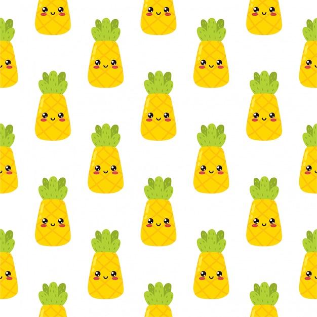 007 kawaii cartoon cute piña fruit emoji sticker carácter feliz sobre fondo blanco delicioso icono diseño vector ilustración elemento de patrones sin fisuras