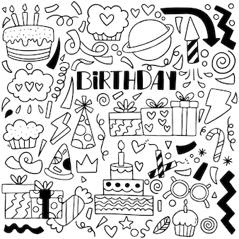 07-09-065 dibujado a mano fiesta doodle feliz cumpleaños adornos patrón de fondo ilustración vectorial