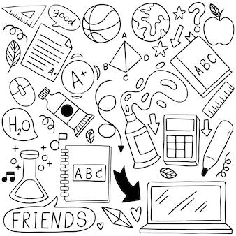08-09-080 dibujado a mano conjunto de iconos de la escuela adornos de fondo patternflag