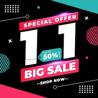 1.1 promoción de banner de venta de día de compras con diseño de estilo memphis