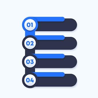 1, 2, 3, 4 pasos, línea de tiempo vertical, elementos para infografías empresariales