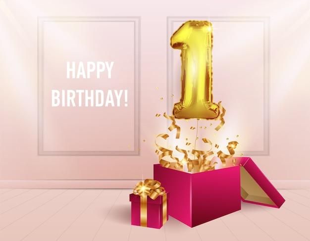 1 año con globo dorado. la celebración del aniversario. los globos con confeti brillante salen volando de la caja.