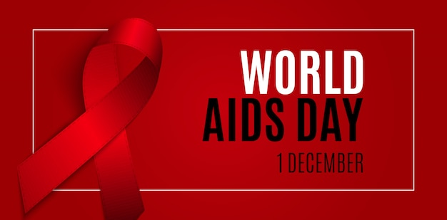 1 de diciembre día mundial del sida. signo de cinta roja. ilustración