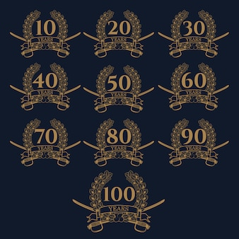 10-100 aniversario icono de corona de laurel.