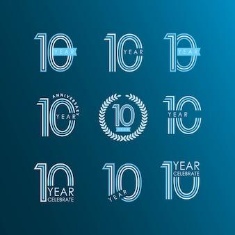10 años de aniversario celebra set vector plantilla de diseño