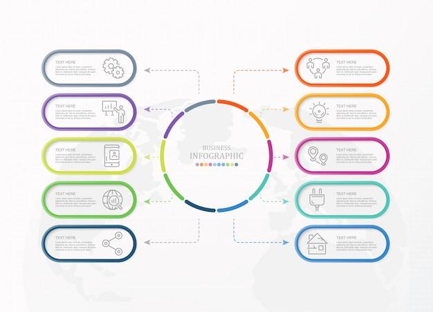 10 iconos de infografía y negocios de proceso.