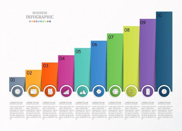10 infografías de proceso e iconos para plantillas de negocios y presentaciones.