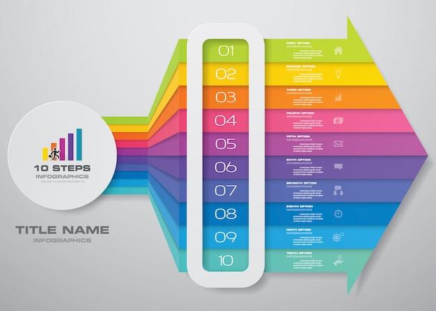 10 pasos infografía elemento flecha plantilla gráfico.