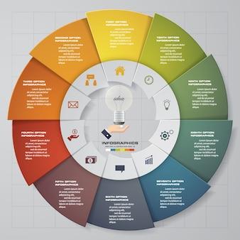 10 pasos modernos elementos de gráfico circular infografía.