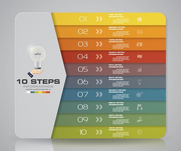 10 pasos modernos elementos de gráfico de infografía.