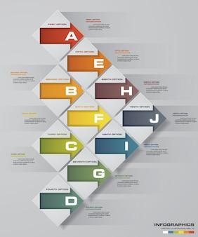 10 pasos de la plantilla arrow infografics
