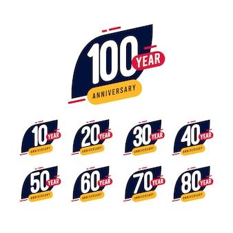 100 años aniversario azul amarillo plantilla diseño ilustración