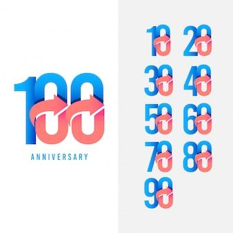 100 años aniversario conjunto logo vector plantilla diseño ilustración