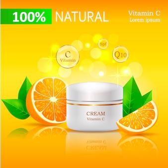 100 crema natural con ilustración de vitamina c