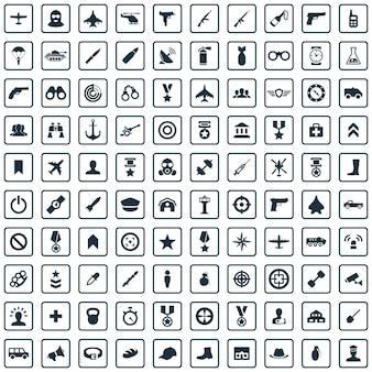 100 iconos de ejército gran conjunto universal