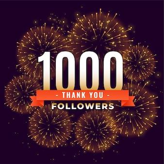 1000 seguidores gracias plantilla de fuegos artificiales de celebración