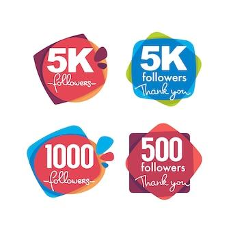 1000 seguidores y miembros, marcos de agradecimiento, burbujas y pancartas, con composición de letras