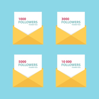 1000 seguidores, tarjeta de cartas de agradecimiento con sobre