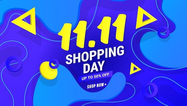 11.11 fondo de banner de venta de día de compras con formas de gradiente poligonales sobre fondo azul