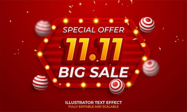 11.11 ilustración de vector de banner de super venta