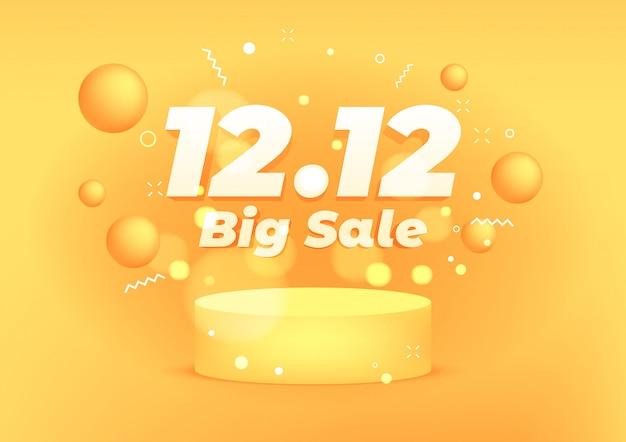 12.12 diseño de promoción de plantilla de banner de descuento de gran venta. 12.12 super ventas en línea.