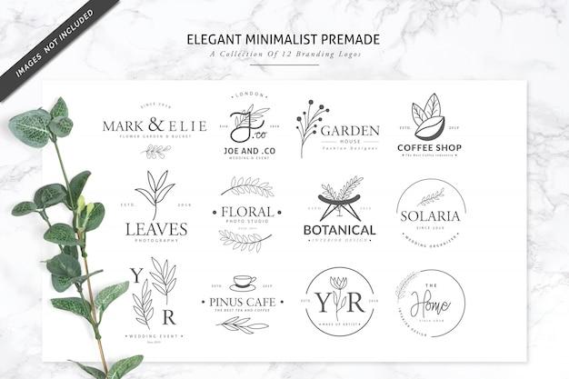 12 elegante logotipo de marca prefabricado minimalista para florista o spa