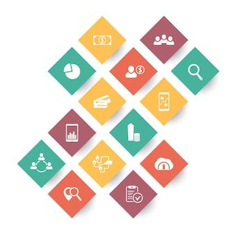 14 iconos de negocios, comercio, finanzas en formas rómbicas sobre blanco, ilustración vectorial