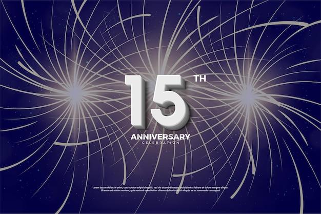 15 aniversario con fuegos artificiales de fondo.