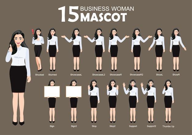 15 mascota de mujer de negocios, estilo de personaje de dibujos animados plantea establecer ilustración