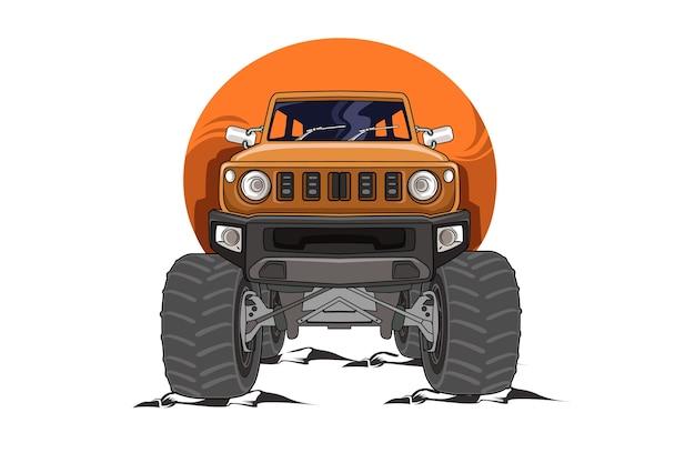 15.el vector de ilustración de camión monstruo naranja todoterreno