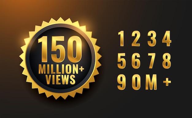 150 millones de vistas diseño de etiqueta dorada.