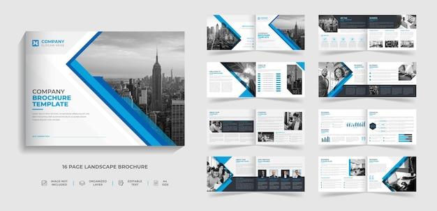 16 páginas, creativo, moderno, paisaje corporativo, perfil de la empresa, diseño de plantilla de folleto de varias páginas