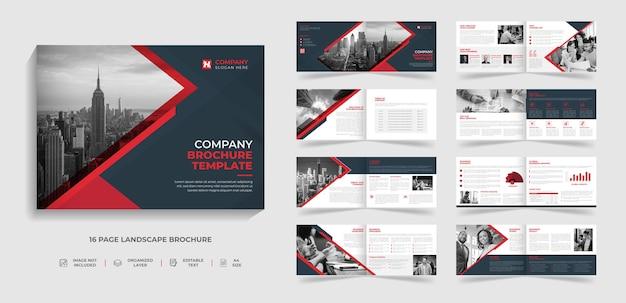 16 páginas, creativo, moderno, perfil de empresa corporativa y diseño de plantilla de folleto de varias páginas.