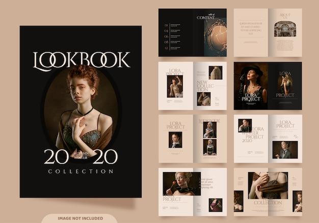 16 páginas de plantilla de lookbook de moda