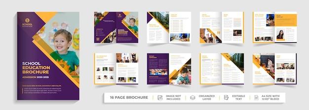 16 páginas de regreso a la educación escolar plantilla de folleto plegable de admisión diseño de perfil de empresa