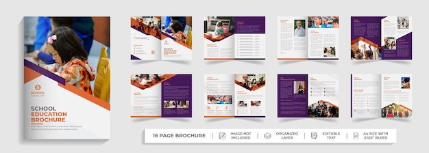 16 páginas de regreso a la escuela educación admisión plantilla de folleto plegable perfil de la empresa diseño de volante