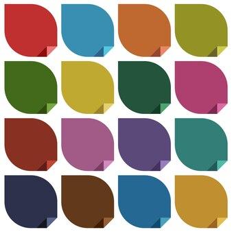 16 pegatinas en blanco de colores retro