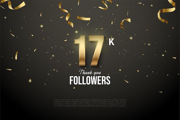 17k seguidores con ilustración de gota de cinta dorada